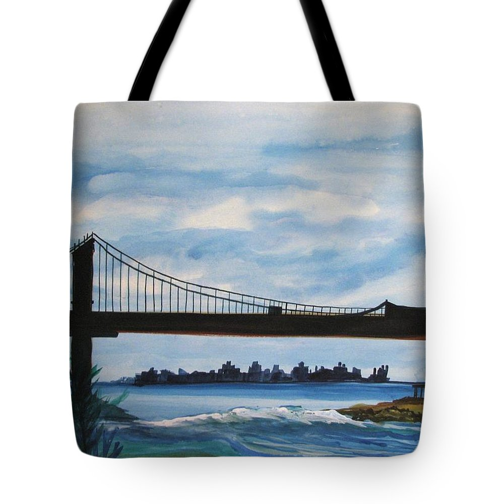 Beach Scene Tote Bag featuring the painting Bridge To Europe by Patricia Arroyo