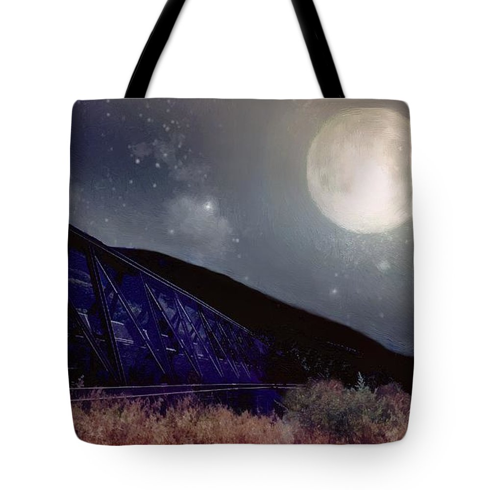 Landscape Tote Bag featuring the painting Bridge To Nowhere by RC DeWinter