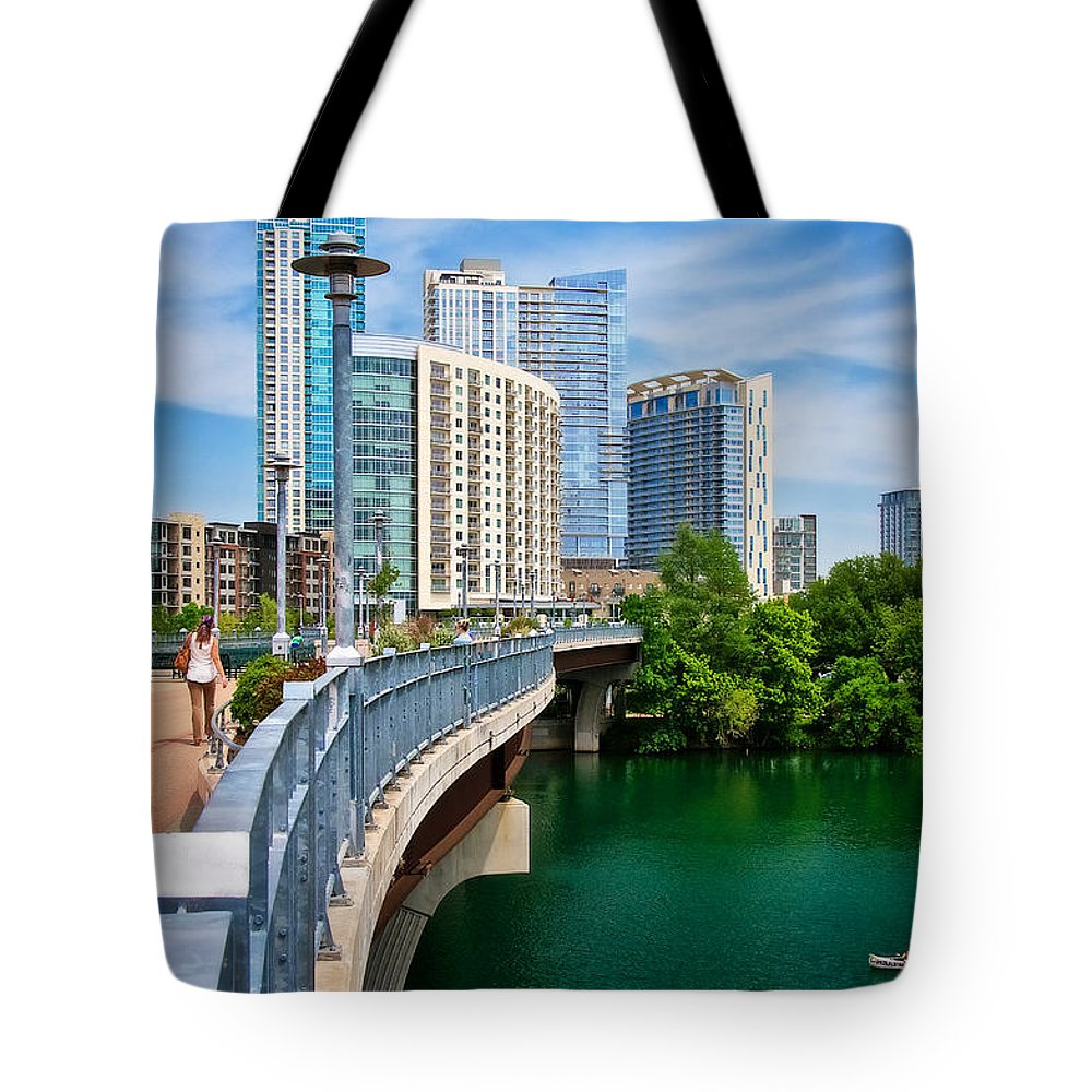 Austin Tote Bag featuring the photograph Bridge With A View by Zayne Diamond Photographic