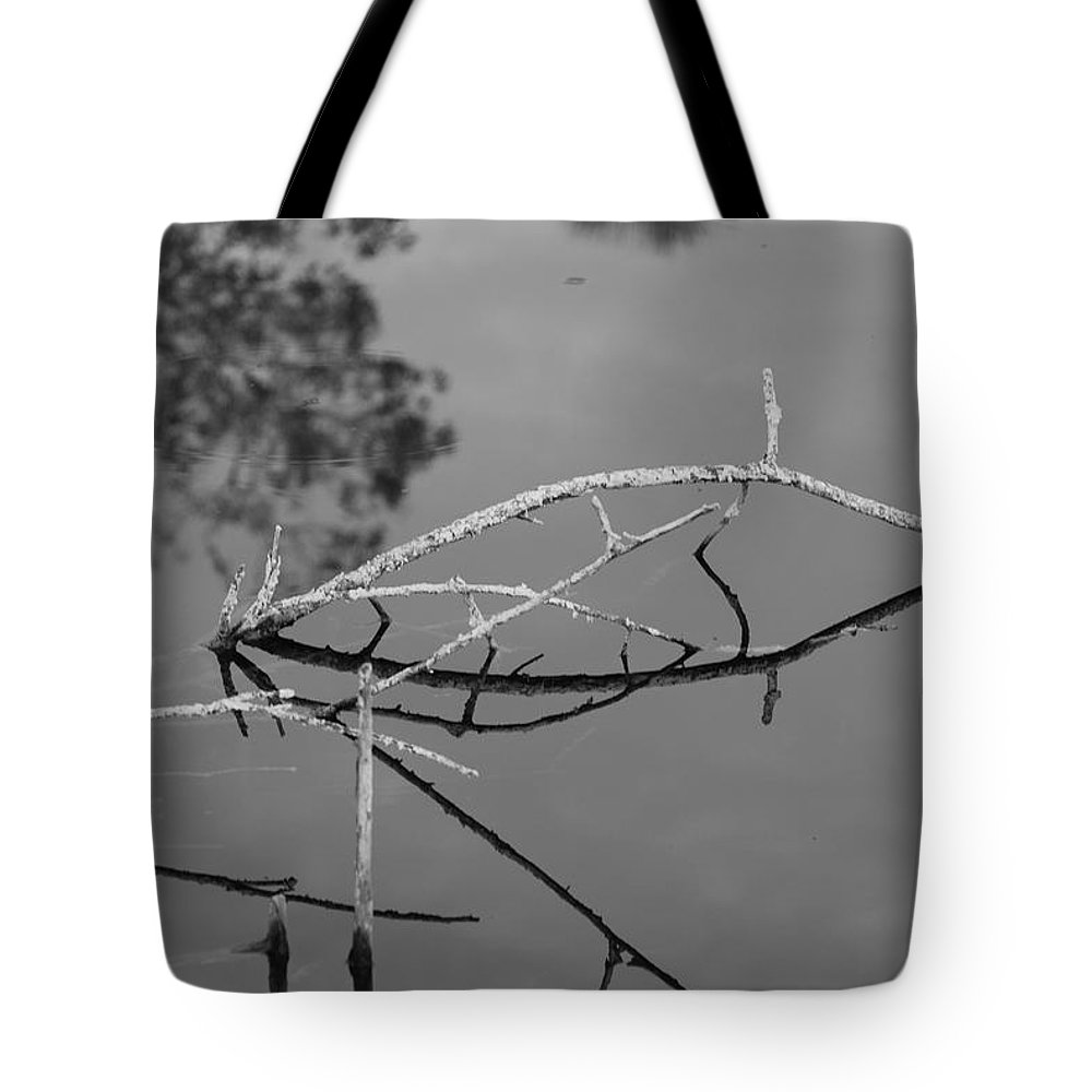 Black And White Tote Bag featuring the photograph Bridges In Wood by Rob Hans