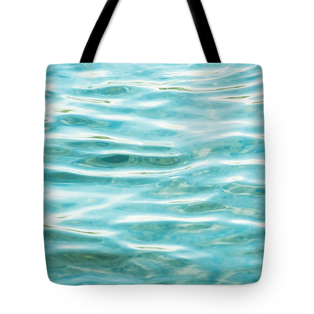 Water Tote Bag featuring the photograph Bright Aqua Water Ripples by Jim And Emily Bush