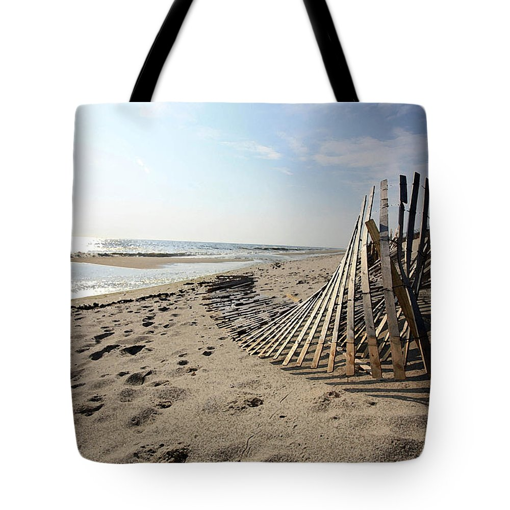Seascape Tote Bag featuring the photograph Bright Beach Morning by Mary Haber