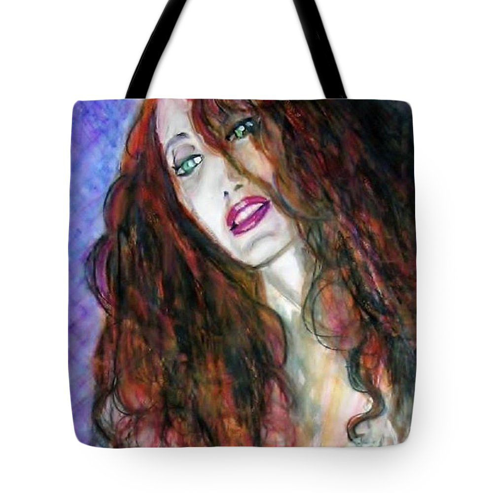 Portrait Tote Bag featuring the painting Bright Eyes by Jarmo Korhonen aka Jarko
