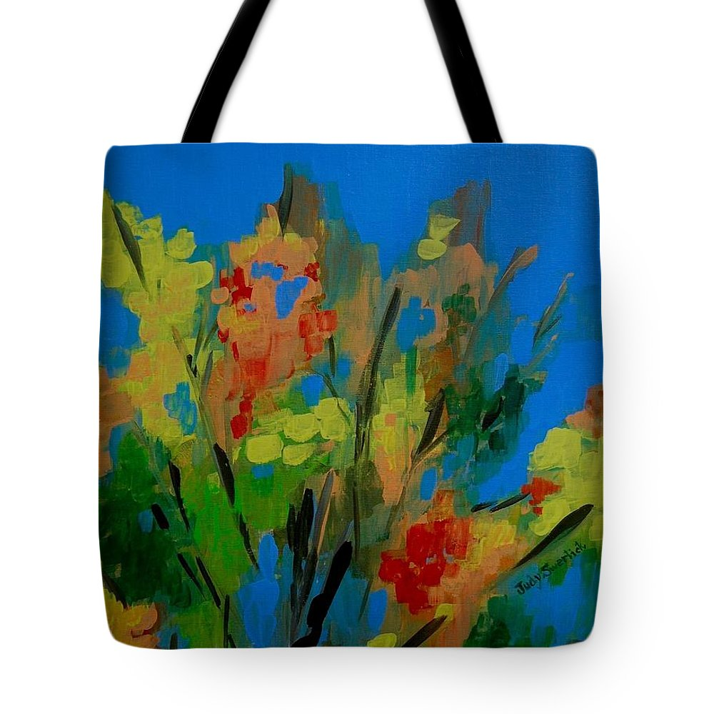 Nature Tote Bag featuring the painting Bright Flowers On Blue by Judy Swerlick
