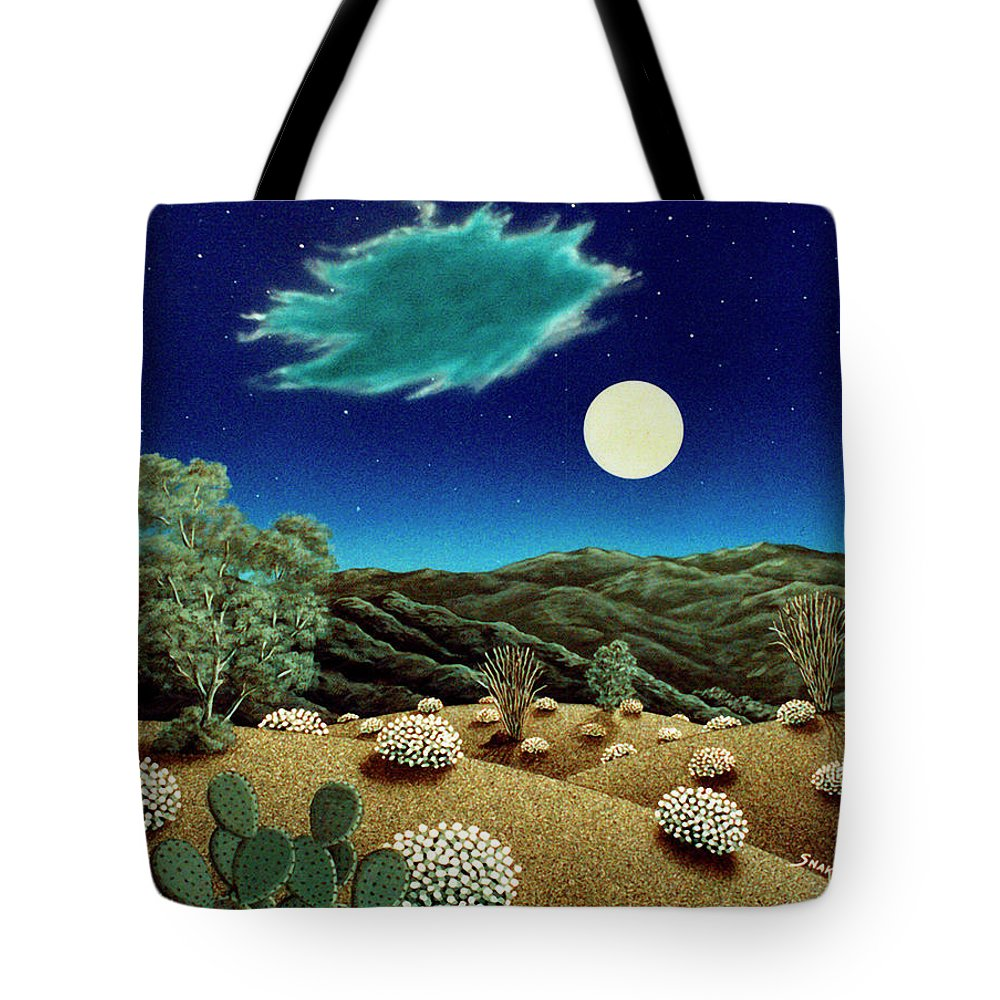 Acrylic Tote Bag featuring the painting Bright Night by Snake Jagger