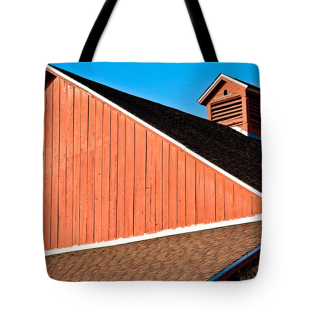 Americana Tote Bag featuring the photograph Bright Red Barn by Marilyn Hunt