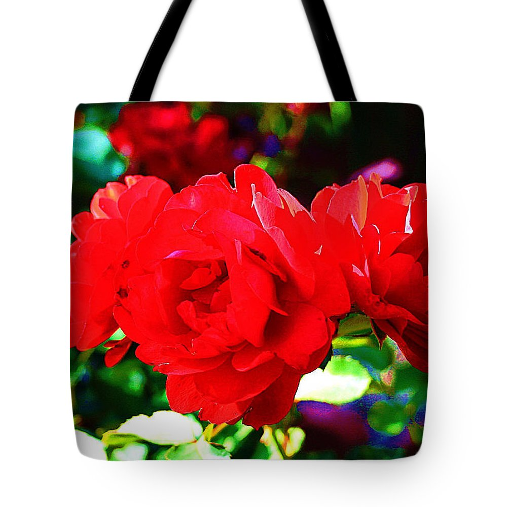 Digital Tote Bag featuring the photograph Bright Red Rose by Michael C Crane