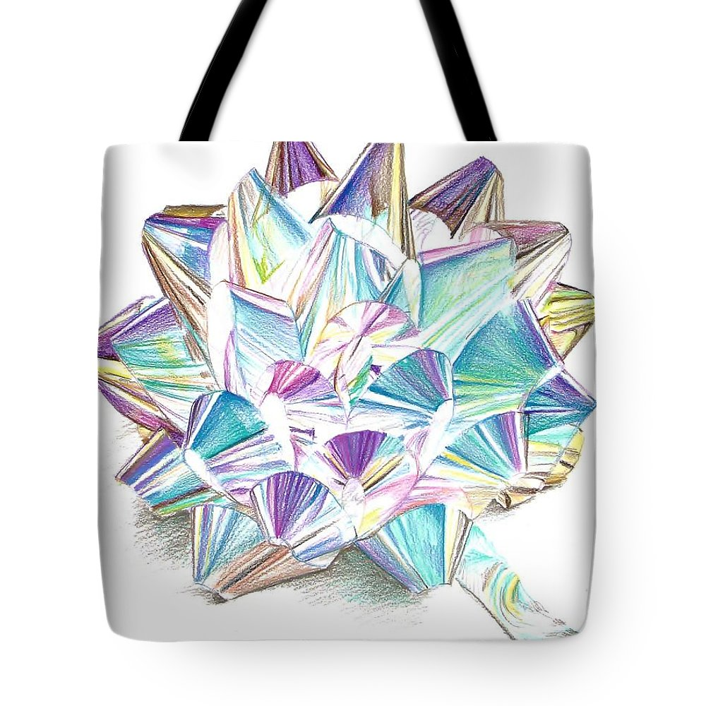 Bow Tote Bag featuring the drawing Bright Ribbon by K M Pawelec
