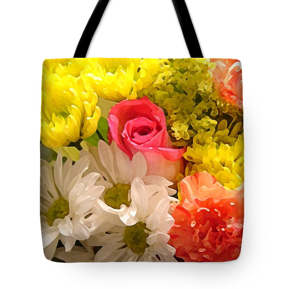 Floral Tote Bag featuring the painting Bright Spring Flowers by Amy Vangsgard