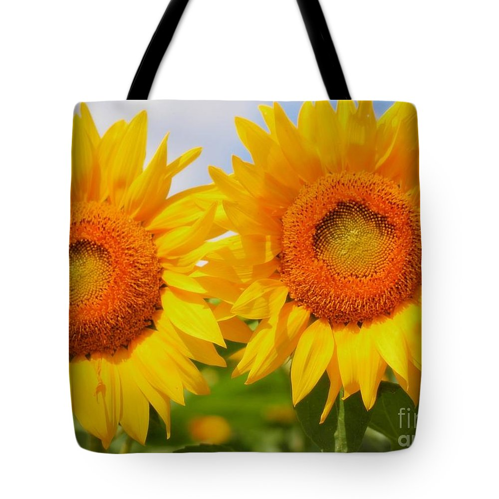 Bright Tote Bag featuring the photograph Bright Sunflowers by Kathleen Struckle
