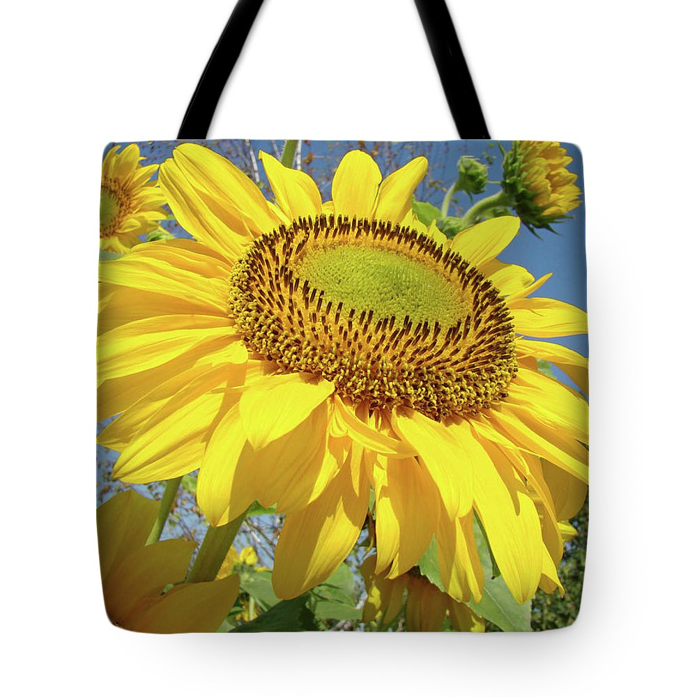 Sunflower Tote Bag featuring the photograph Bright Sunny Happy Yellow Sunflower 10 Sun Flowers Art Prints Baslee Troutman by Baslee Troutman