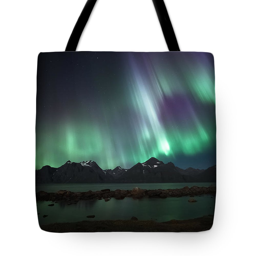 Aurora Borealis Tote Bag featuring the photograph Bright by Tor-Ivar Naess