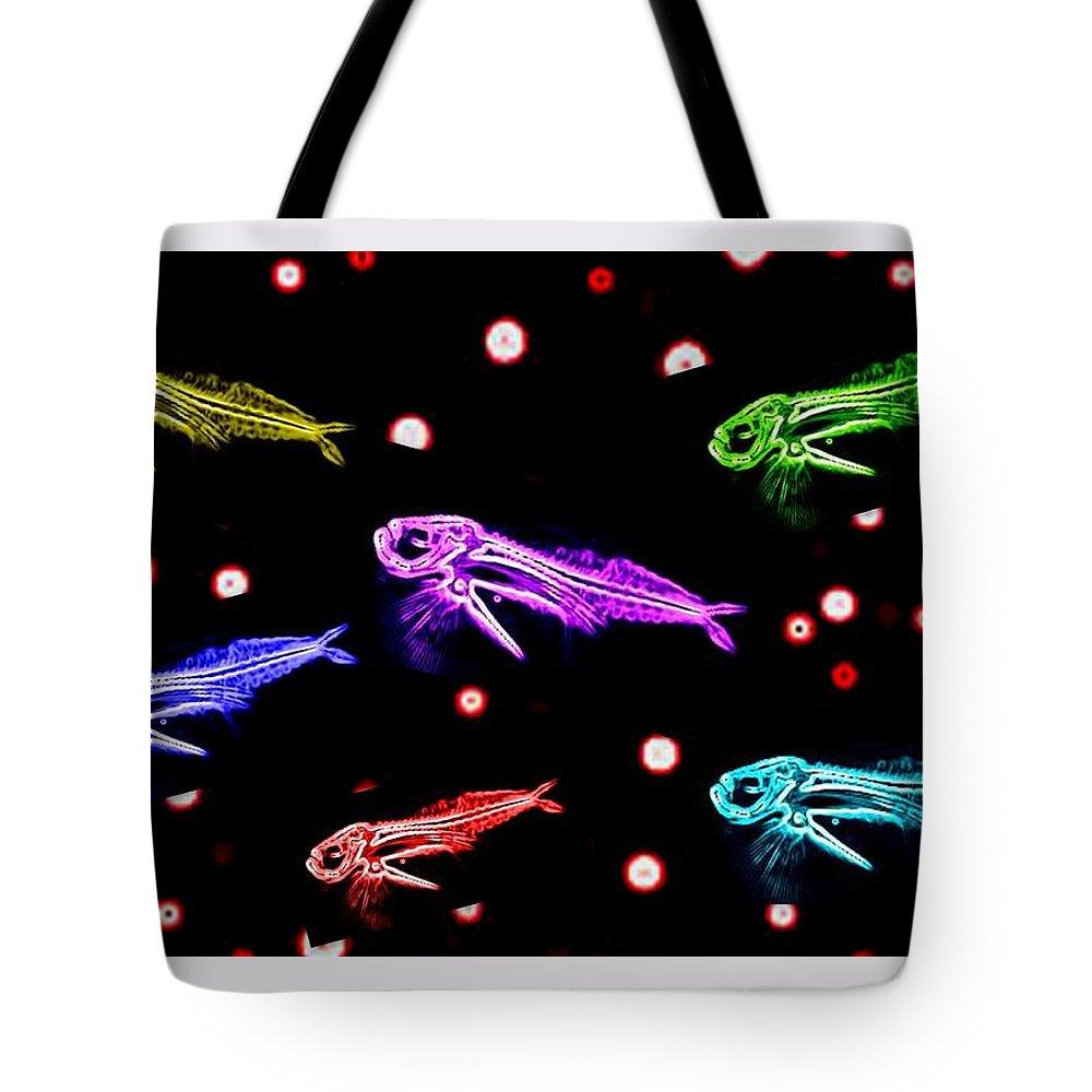 Fish.fishes. Brigh. Color. Digital. Art. Digitalart. Artdigital. Carlos Duarte Tote Bag featuring the digital art Brightcolorfishes by Carlos Duarte