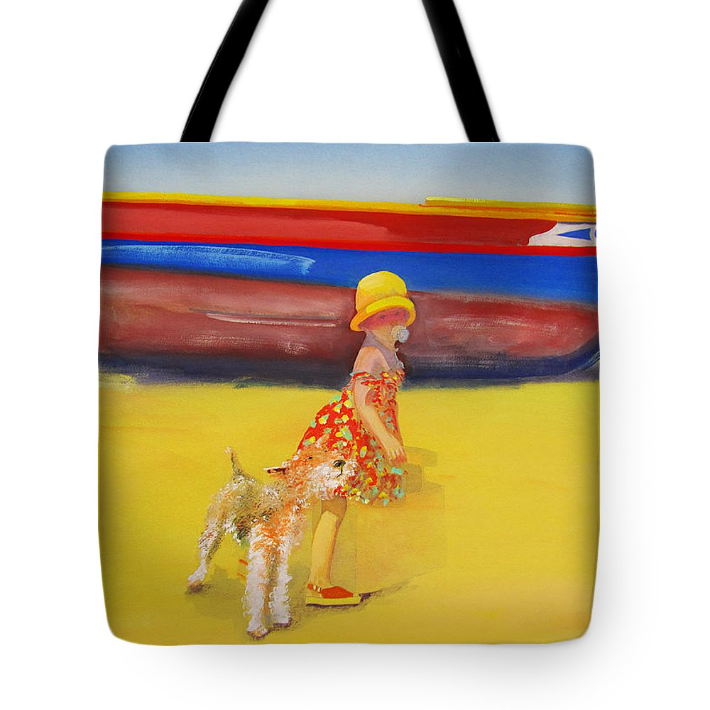 Wire Haired Fox Terrier Tote Bag featuring the painting Brightly Painted Wooden Boats With Terrier And Friend by Charles Stuart