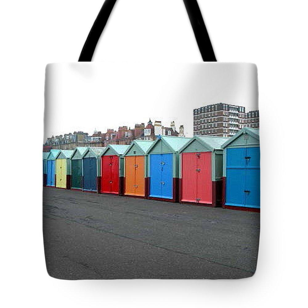 Beach Huts Tote Bag featuring the photograph Brighton Beach Huts by Maria Joy