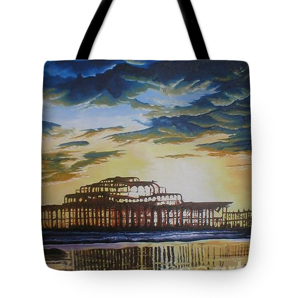 Brighton West Pier Derelict Victorian Sad Beach Sand Sunset Tote Bag featuring the painting Brighton West Pier by Pauline Sharp