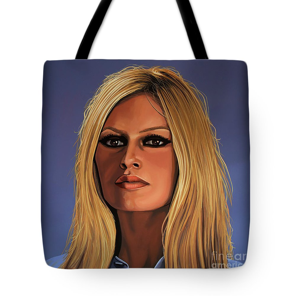 Brigitte Bardot Tote Bag featuring the painting Brigitte Bardot Painting 3 by Paul Meijering