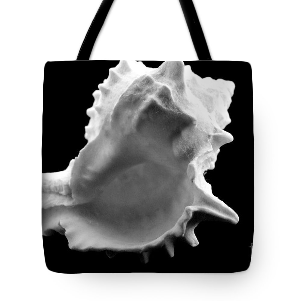 Mary Deal Tote Bag featuring the photograph Brilliant Drupe In Black And White by Mary Deal
