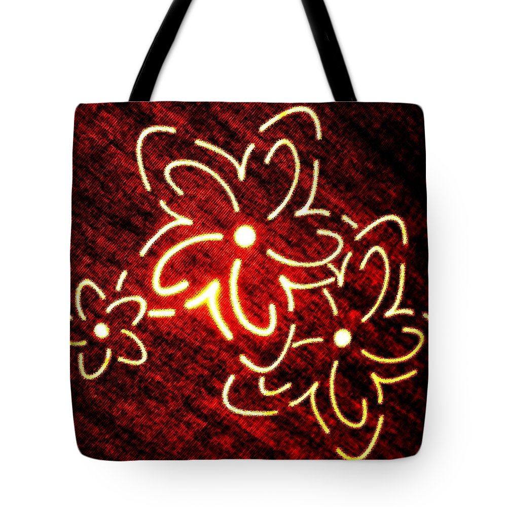 Abstract Tote Bag featuring the digital art Brilliant Floral Abstract by Will Borden