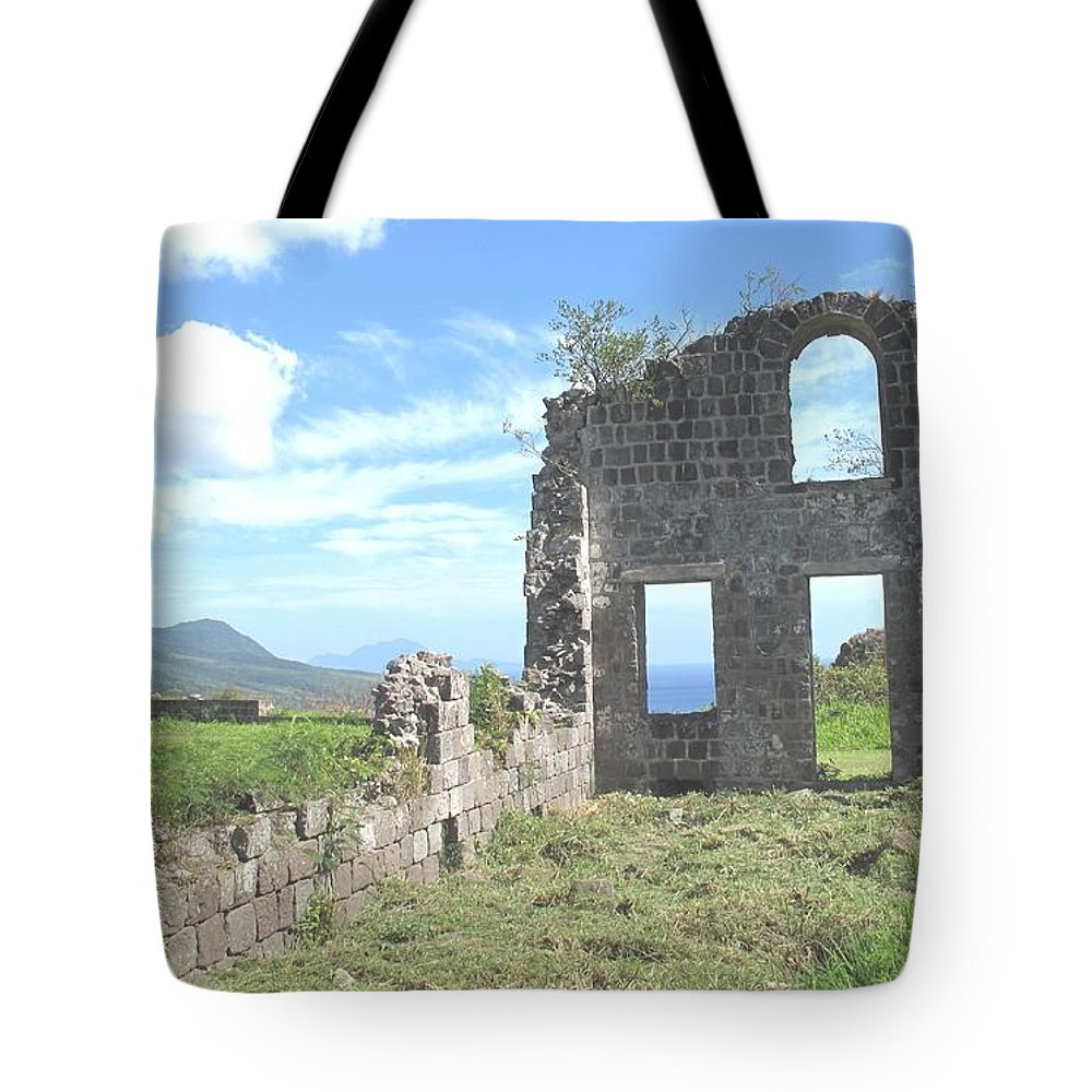 St Kitts Tote Bag featuring the photograph Brimstone Ruins by Ian MacDonald