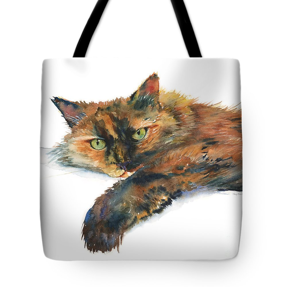 Cat Tote Bag featuring the painting Brina by Amy Kirkpatrick