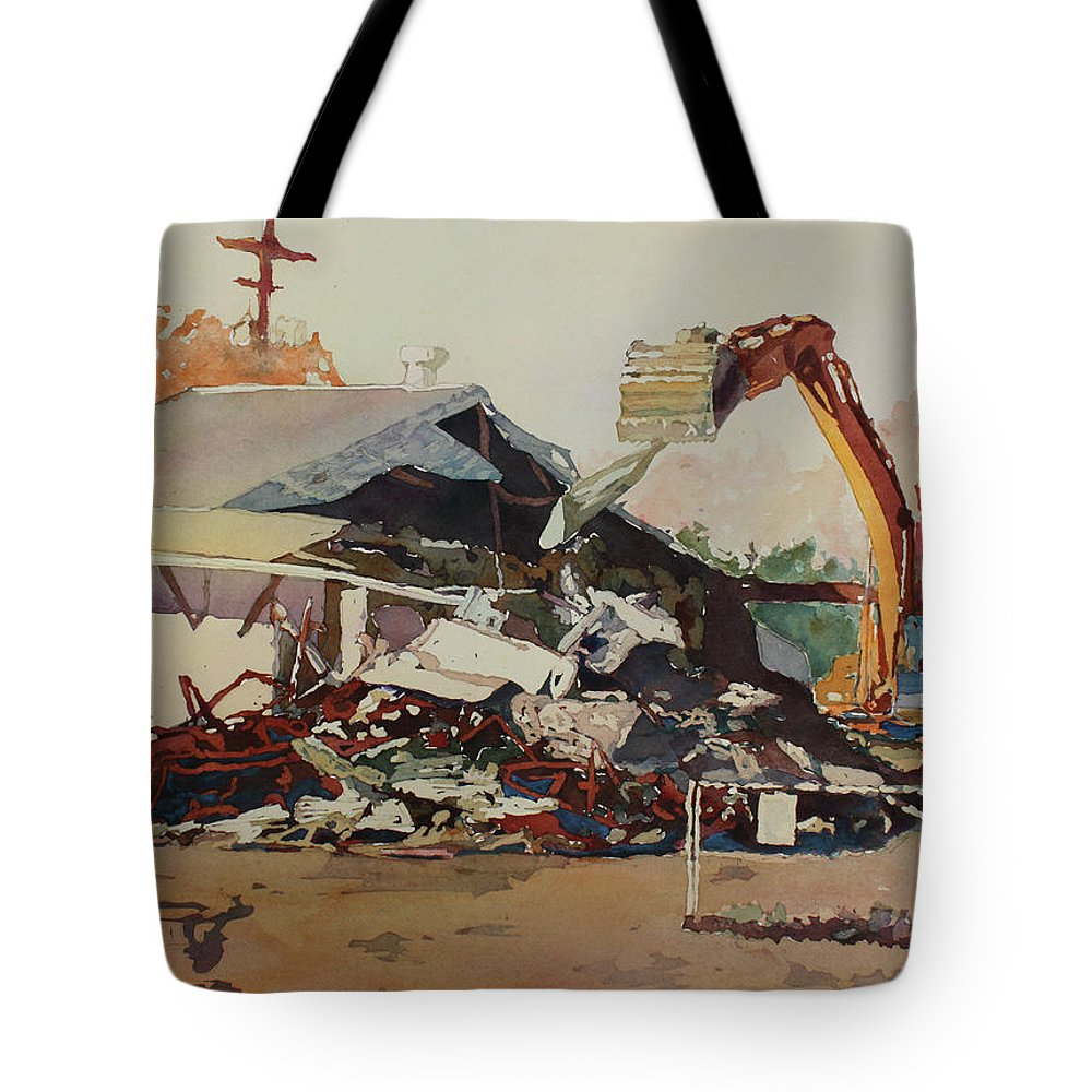 House Tote Bag featuring the painting Bringing Down The House by Jenny Armitage