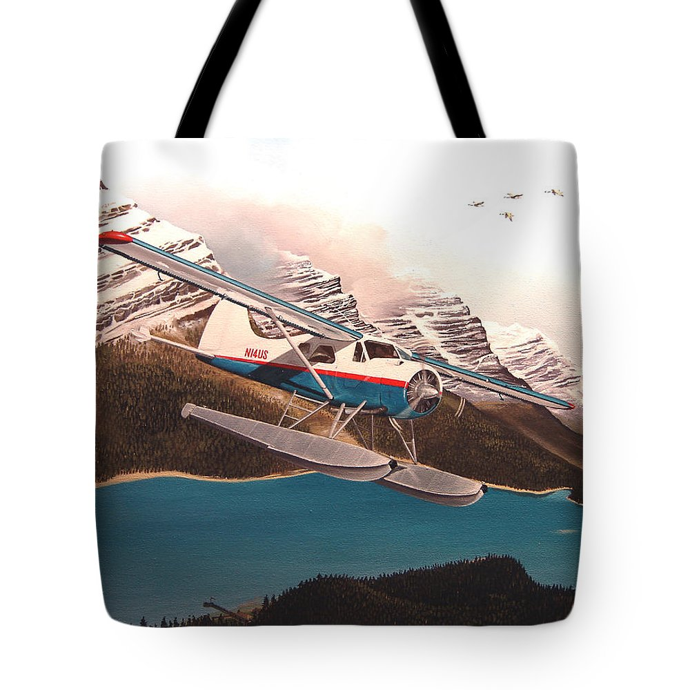 Aviation Tote Bag featuring the painting Bringing Home the Groceries by Marc Stewart