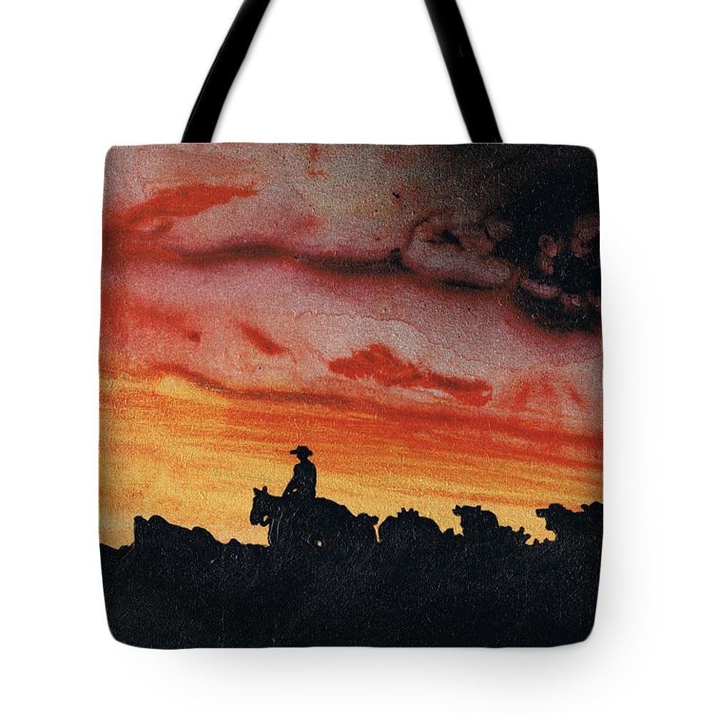 Landscape Tote Bag featuring the painting Bringing Them Home by Stacey Austin