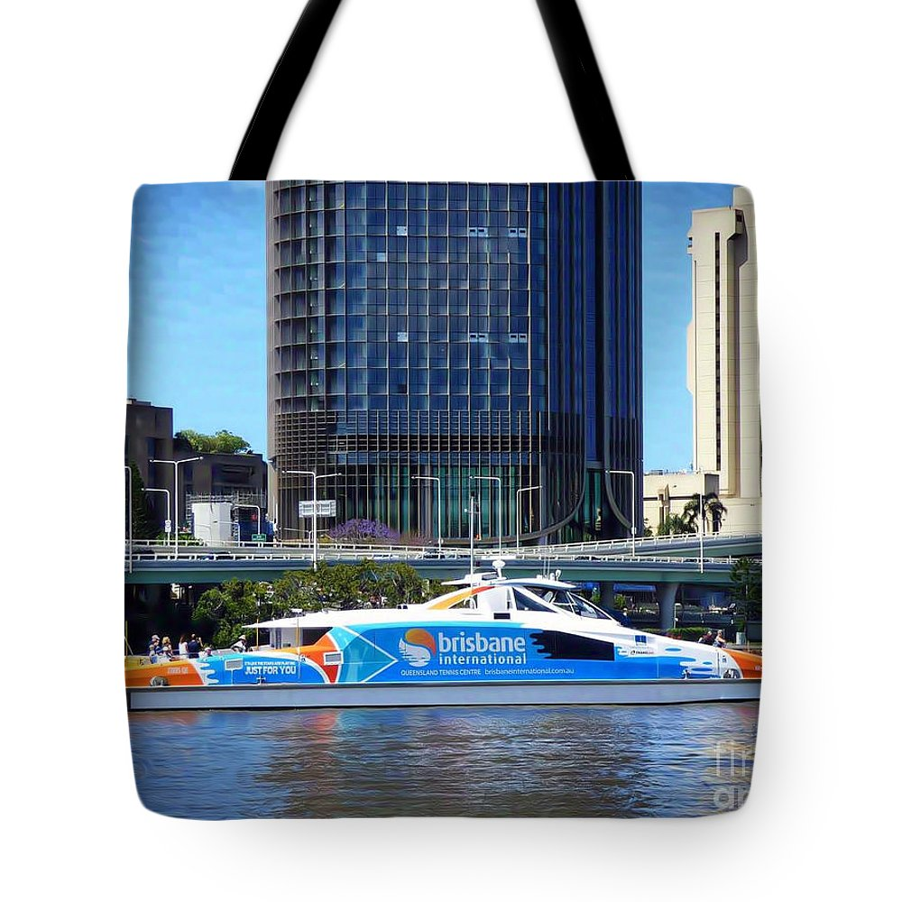 Brisbane City Cat Tote Bag featuring the mixed media Brisbane City Cat. by Trudee Hunter