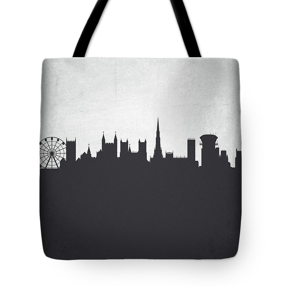 Bristol Tote Bag featuring the painting Bristol England Cityscape 19 by Aged Pixel