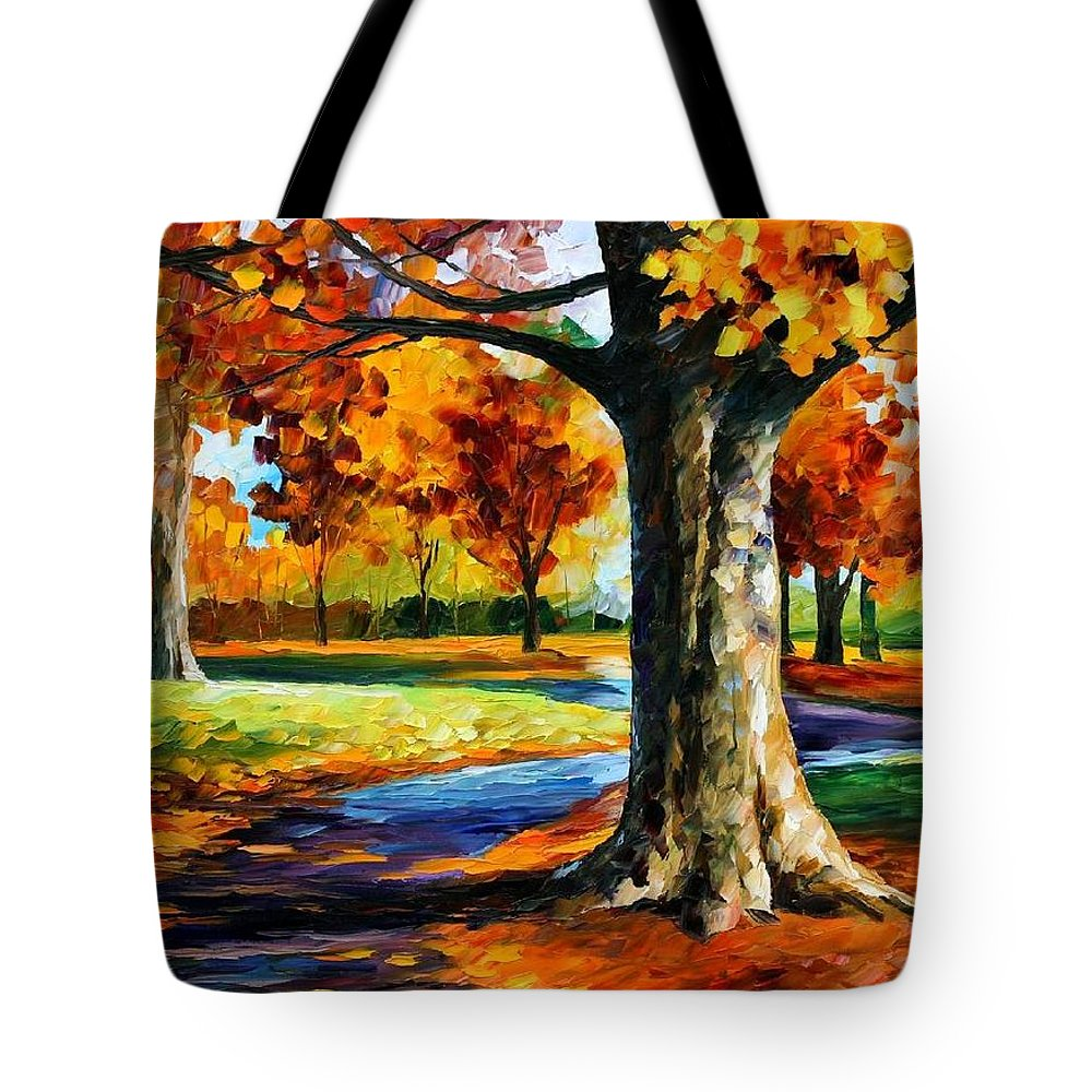 Afremov Tote Bag featuring the painting Bristol Fall by Leonid Afremov