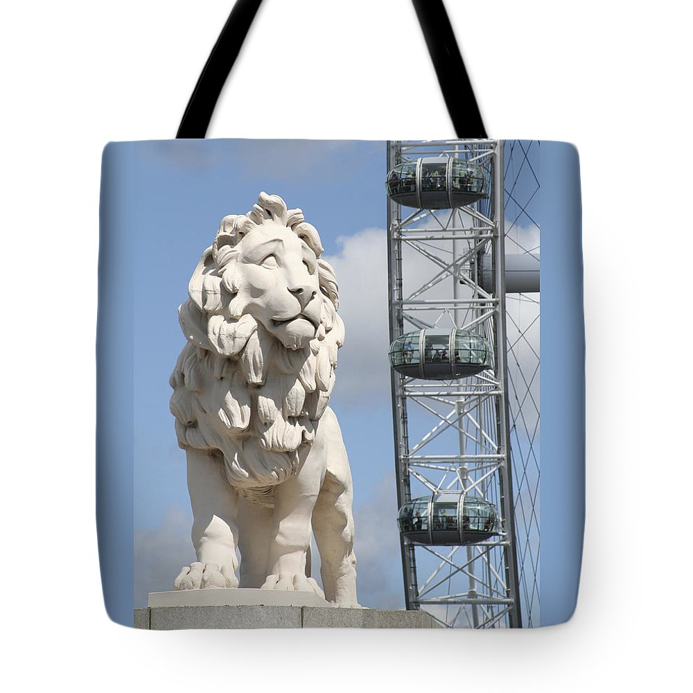 Lion Tote Bag featuring the photograph Britannia Lion by Margie Wildblood