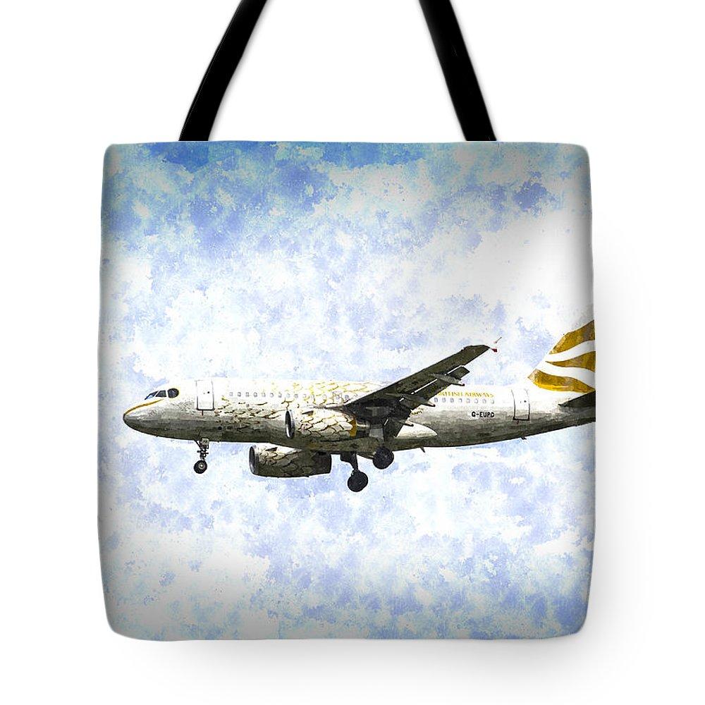 British Airways Tote Bag featuring the photograph British Airways A319 Feather Design Art by David Pyatt