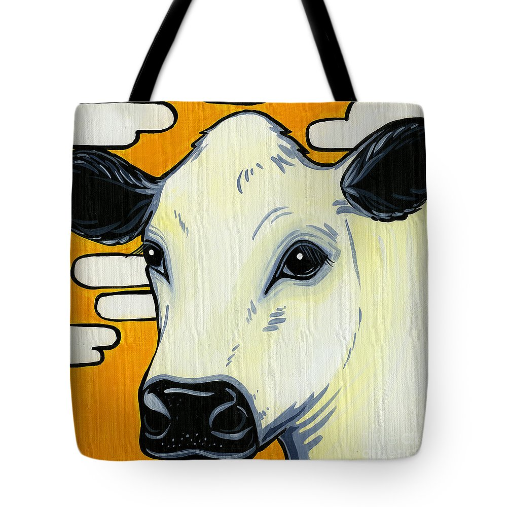British White Cow Tote Bag featuring the painting British White by Leanne Wilkes