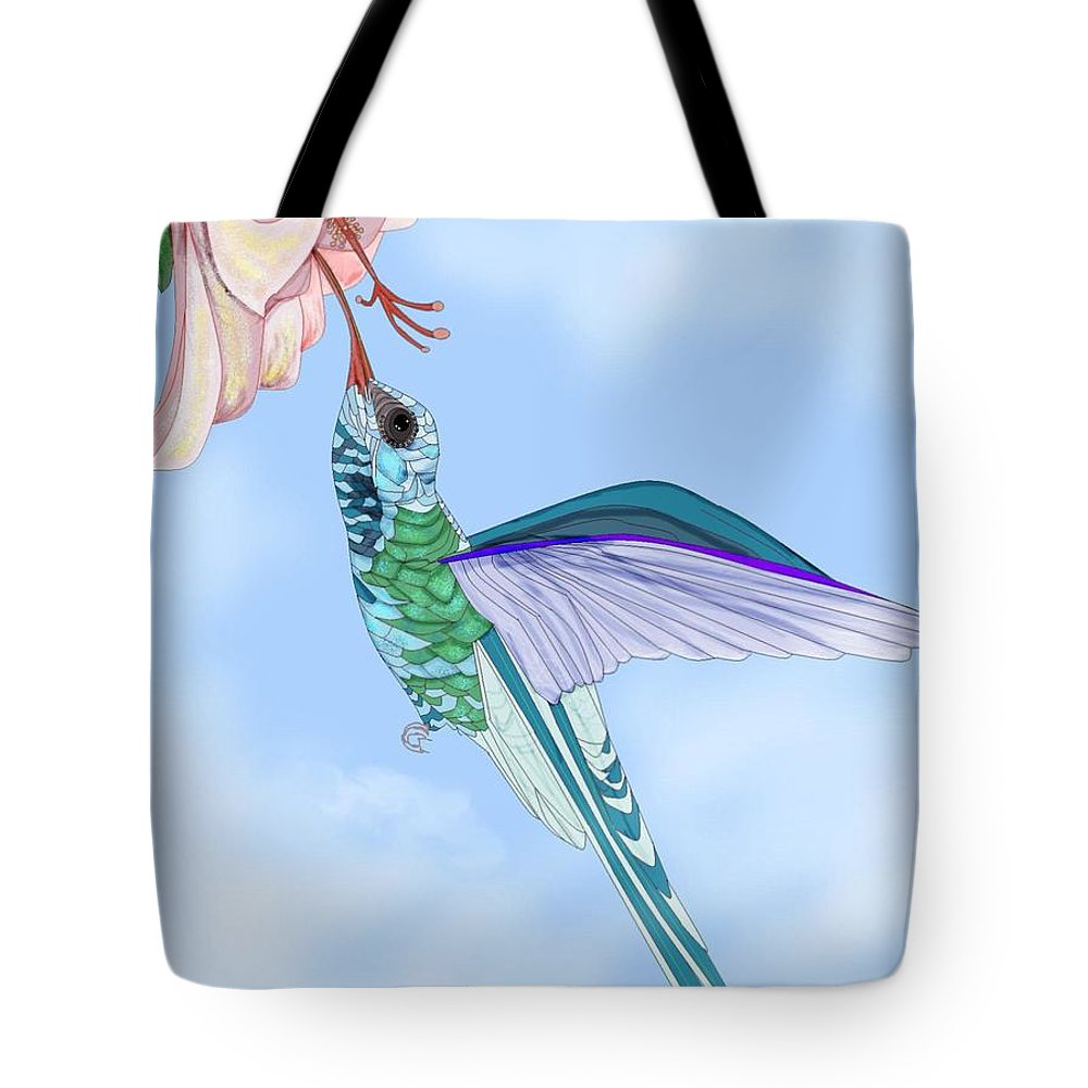 Hummingbird Tote Bag featuring the painting Broadbilled Hummer by Anne Norskog