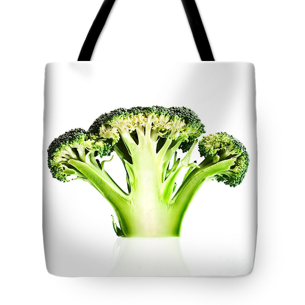 Broccoli Tote Bag featuring the photograph Broccoli Cutaway On White by Johan Swanepoel