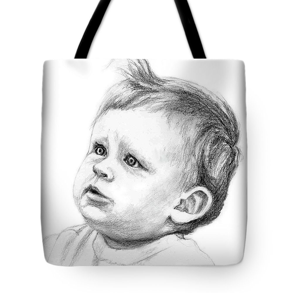 Portrait Tote Bag featuring the drawing Brodi by Keith Burgess