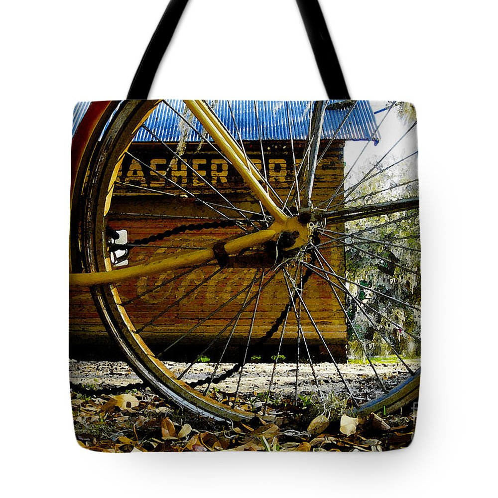 Micanopy Florida Tote Bag featuring the painting Broken Bicycle by David Lee Thompson