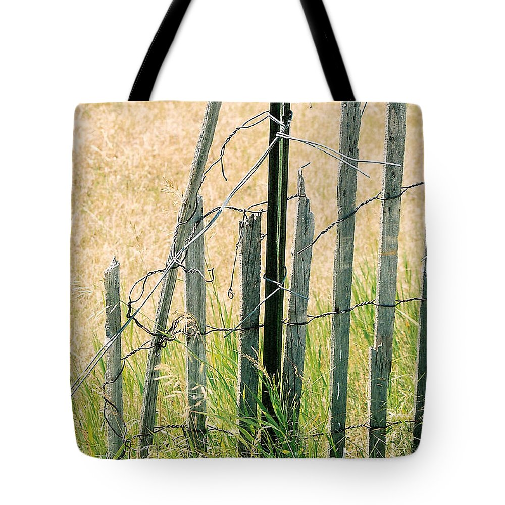 Fence Tote Bag featuring the photograph Broken Fence by Lauri Novak
