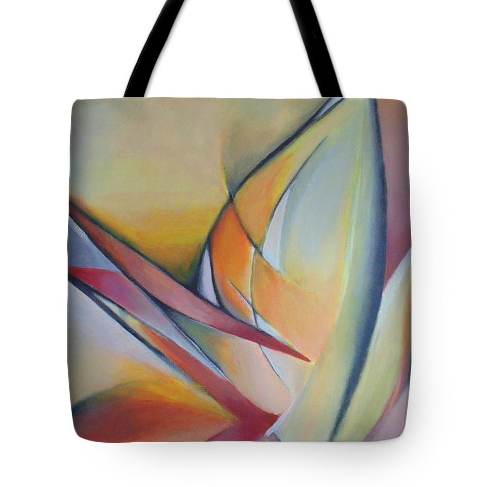 Abstract Tote Bag featuring the painting Broken Flowers by Despoina Ntarda
