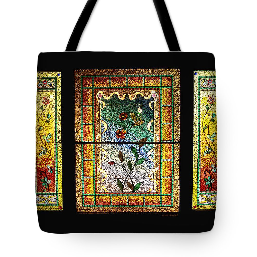 Stained Glass Tote Bag featuring the photograph Broken Flowers by Donna Blackhall