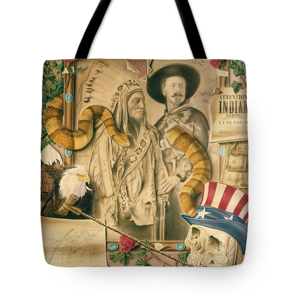 Indians Tote Bag featuring the painting Broken Promises by Rich Milo