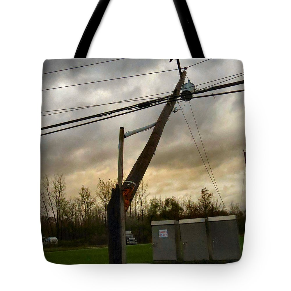 Wind Tote Bag featuring the photograph Broken Telephone Pole by Art Dingo