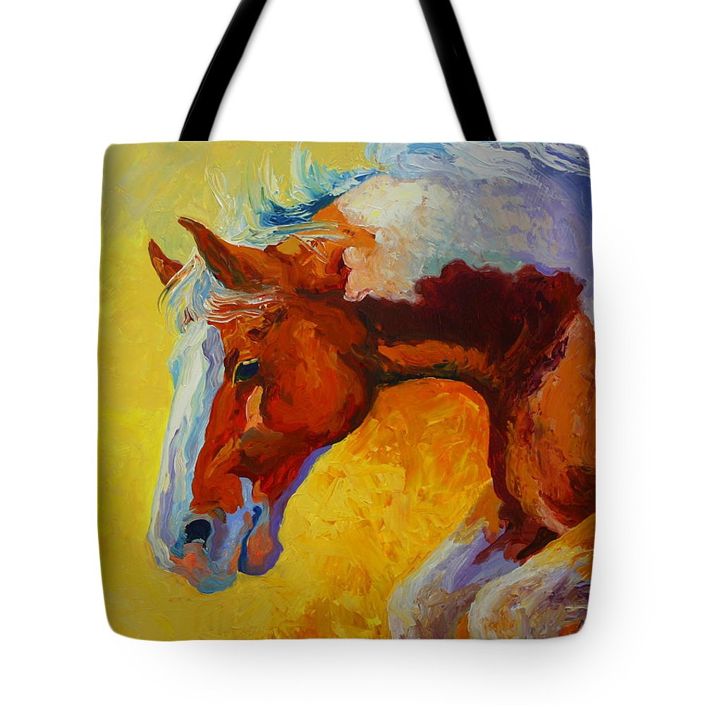 Western Tote Bag featuring the painting Bronc I by Marion Rose