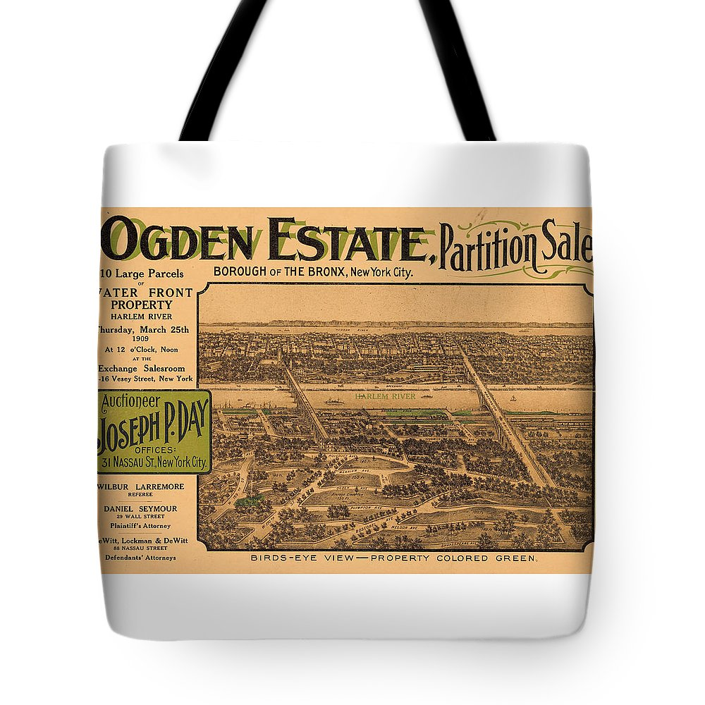 New York City Tote Bag featuring the photograph 1909 Bronx New York Realtor Flyer by Rospotte Photography