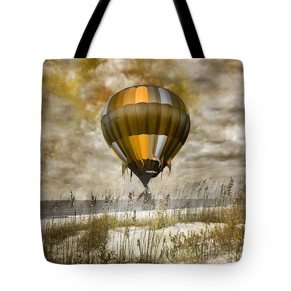 Hot Tote Bag featuring the digital art Bronze Beach Ballooning by Betsy Knapp