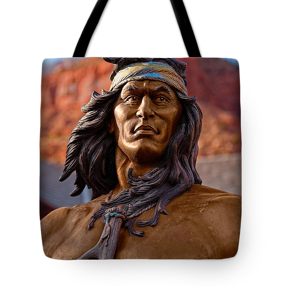 Statue Tote Bag featuring the photograph Bronze Native by Christopher Holmes