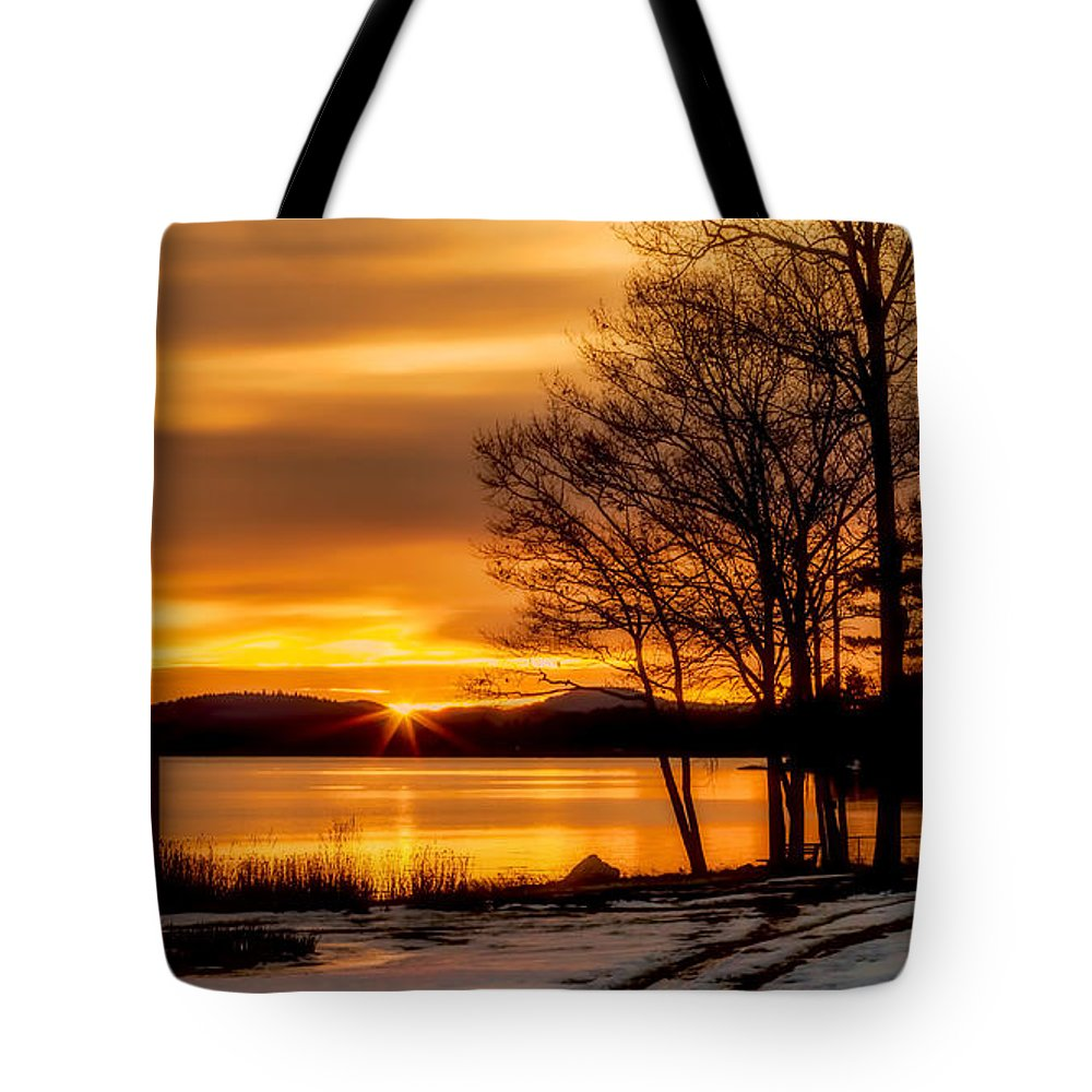 Winnipesaukee Tote Bag featuring the photograph Bronze Winter Dawn by Stephen Anthony