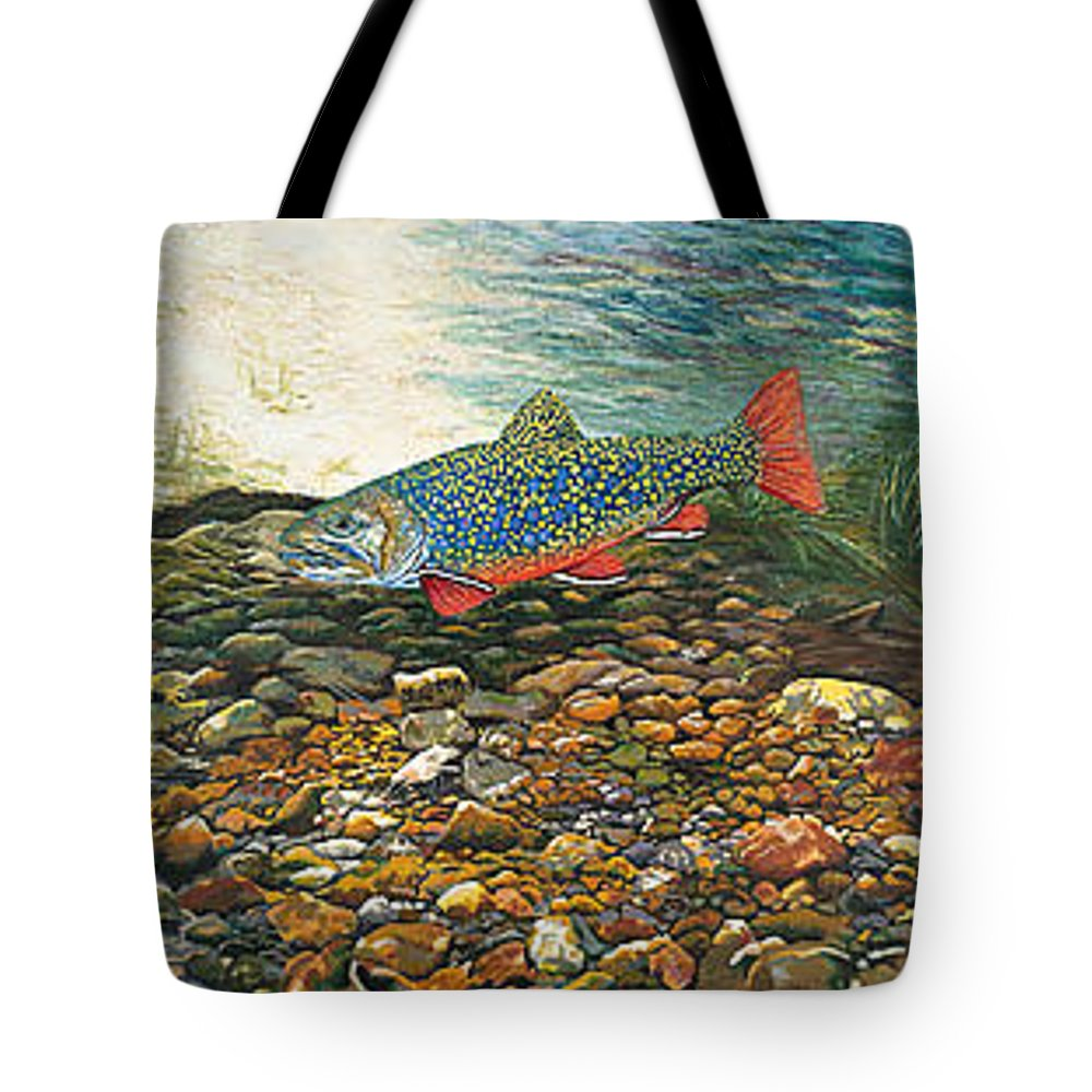 Nature Tote Bag featuring the painting Brook Trout Art Fish Art Nature Wildlife Underwater by Baslee Troutman