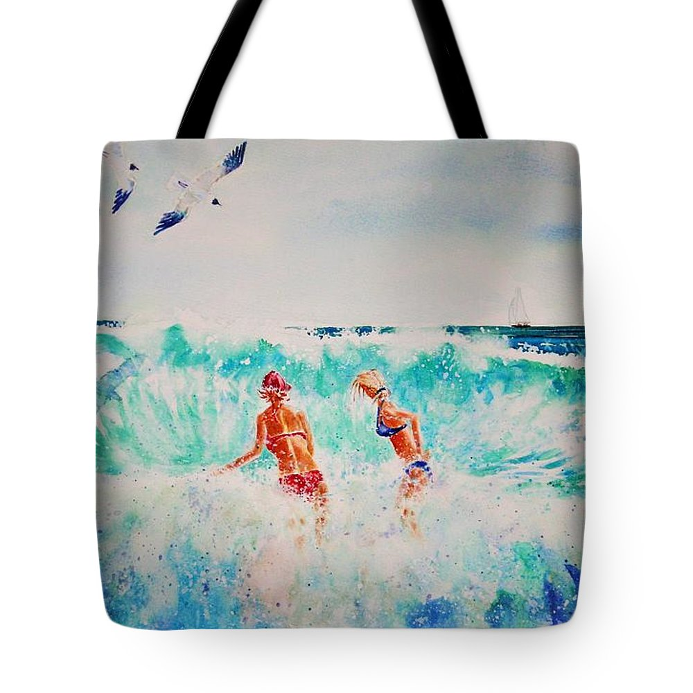 Surf Tote Bag featuring the painting Brooke And Carey In The Shore Break by Tom Harris